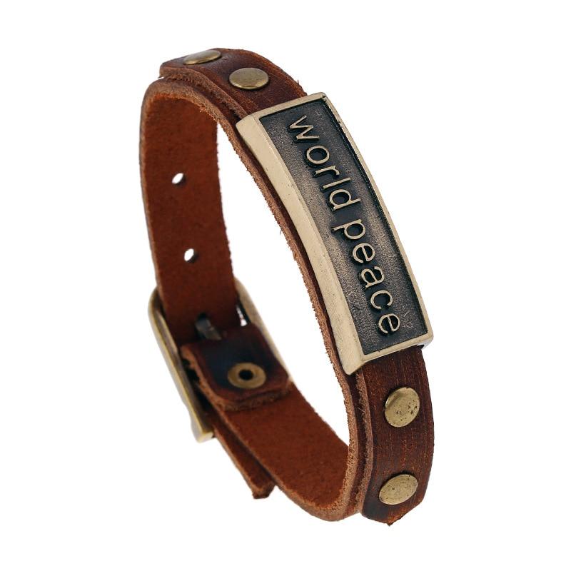 Alibaba Hot Selling Fashion Leather Bracelet with WORLD PEACE Engraved Punk Bracelet Charm
