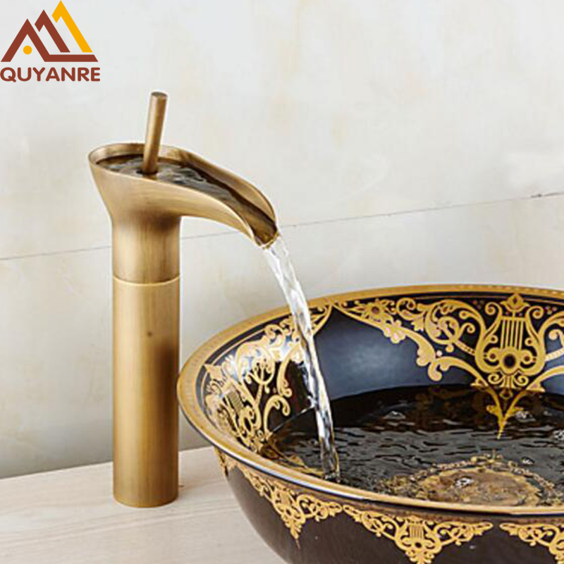 Free Shipping Contemporary Modern Open Spout Water Tap Bathroom Vessel Sink Faucet In Antique Brass waterfall Basin Faucet modern brass bathroom sink waterfall faucet