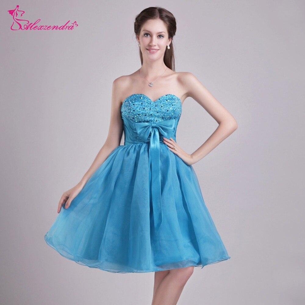 Alexzendra Blue Short Knee Length Tulle   Prom     Dresses   Customize Simple Beaded Party   Dresses   Plus Size