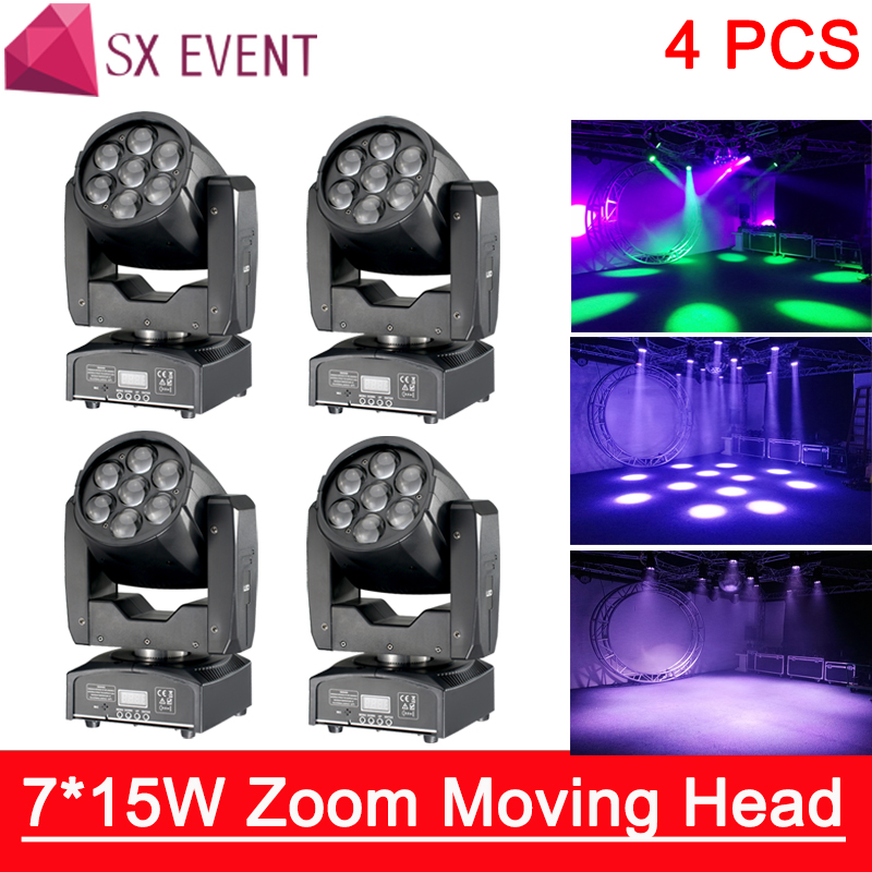 7*15W zoom moving head light Professional lighting dmx dj LED Moving Head 7*15W Zoom Light 16 DMX Mixing 7*15W Zoom 4pcs/lot