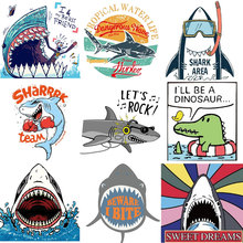 Iron on Patches Big Animal Shark Top Clothing Application Thermo Transfer for Clothes Decor Stripes T-shirt Badges Tops
