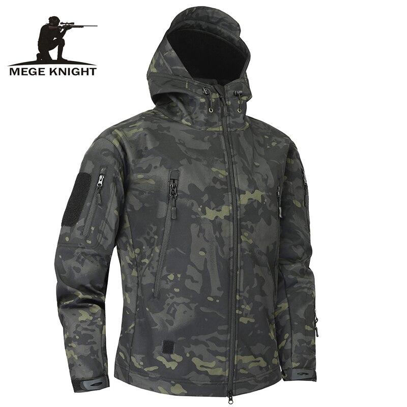 Mege Акула кожи Soft Shell военно-тактические куртка Для мужчин Водонепроницаемый Армия флис Костюмы Мультикам камуфляж ветровки 4XL