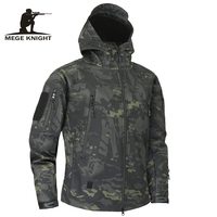Mege Shark Skin Soft Shell Military Tactical Jacket Men Waterproof Army Fleece Clothing Multicam Camouflage Windbreakers