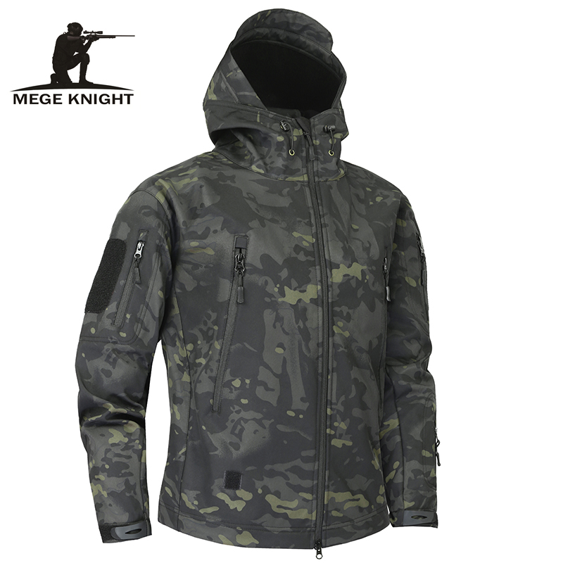 Mege Requin Peau Soft Shell Militaire veste tactique Hommes Étanche Armée Polaire Vêtements Multicam Camouflage Blousons 4XL