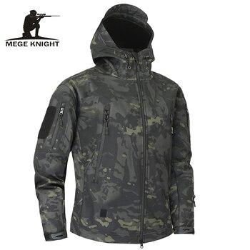 Mege skóra rekina miękka powłoka wojskowa kurtka taktyczna mężczyźni wodoodporna odzież polarowa armii Multicam kamuflaż wiatrówki 4XL
