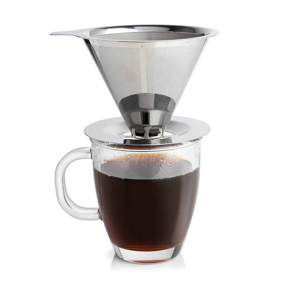 Hot Stainless Steel Pour Over Cone Coffee Dripper Mesh Filter Paperless Home Kitchen Coffee Shop Brewing Tool High Quality HY99 durable quality dual layer solid stainless steel coffee filter dripper refillable holder handle