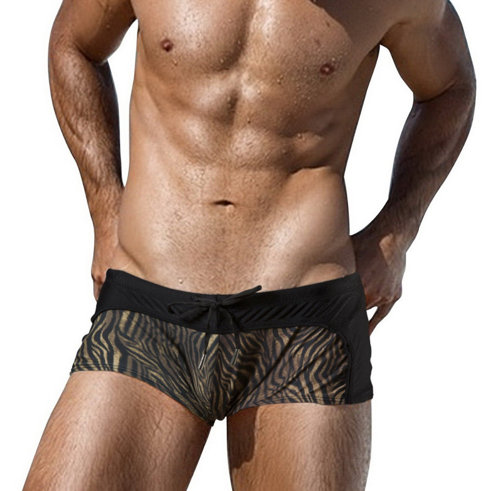 Swimming Trunks Beach   Board     Shorts   Swimwear Men Sexy Swimsuit Beachwear Surfing Briefs Swim Wear Bikini Tiger Striped Printed