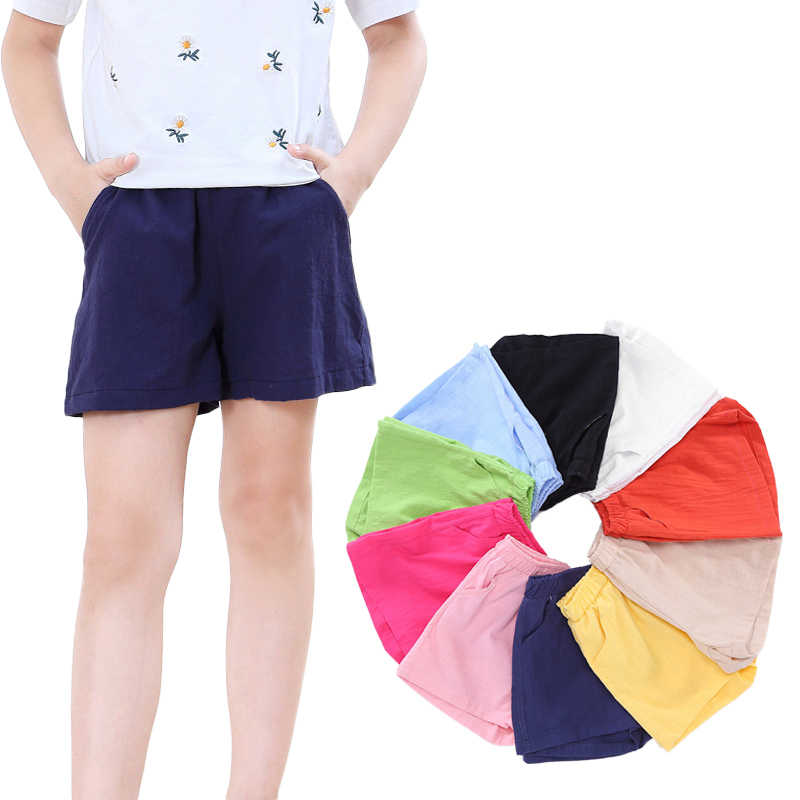2019 New Summer Boys Girls Shorts Slub Cotton Kids Children Bloomers Loose Short Pants  Trousers Beach Wear 2-10 Yrs