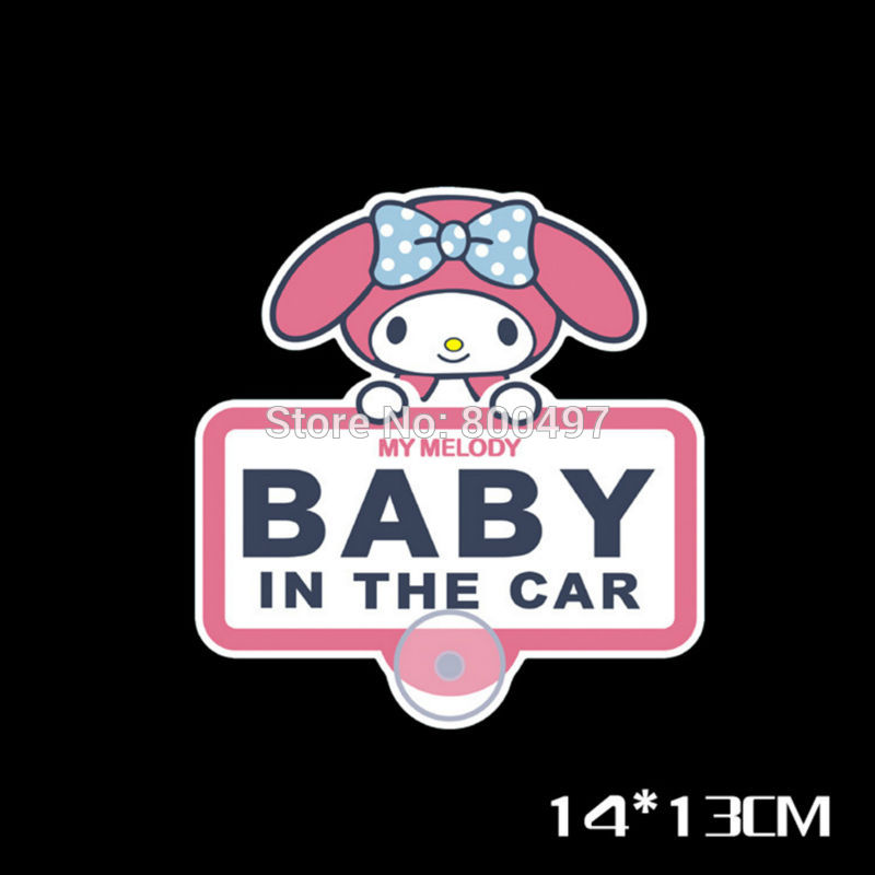 Lovely Melody Pink Rabbit Baby in Car Cartoon Car Stickers Decal for Tesla Ford Chevrolet VW Skoda Fiesta Peugeot Toyota Hyundai