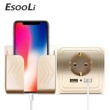 EsooLi Ổ Cắm USB tường 5 V 2A Dual Ổ điện EU Cổng Sạc 16A 250 V Bếp Cắm Ổ cắm Ổ Cắm Điện