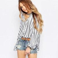 Fashion Casual Vertical Stripe Chiffon Shirt Lacing Lantern Sleeve Loose Wild Long Sleeve Women Shirt Slim