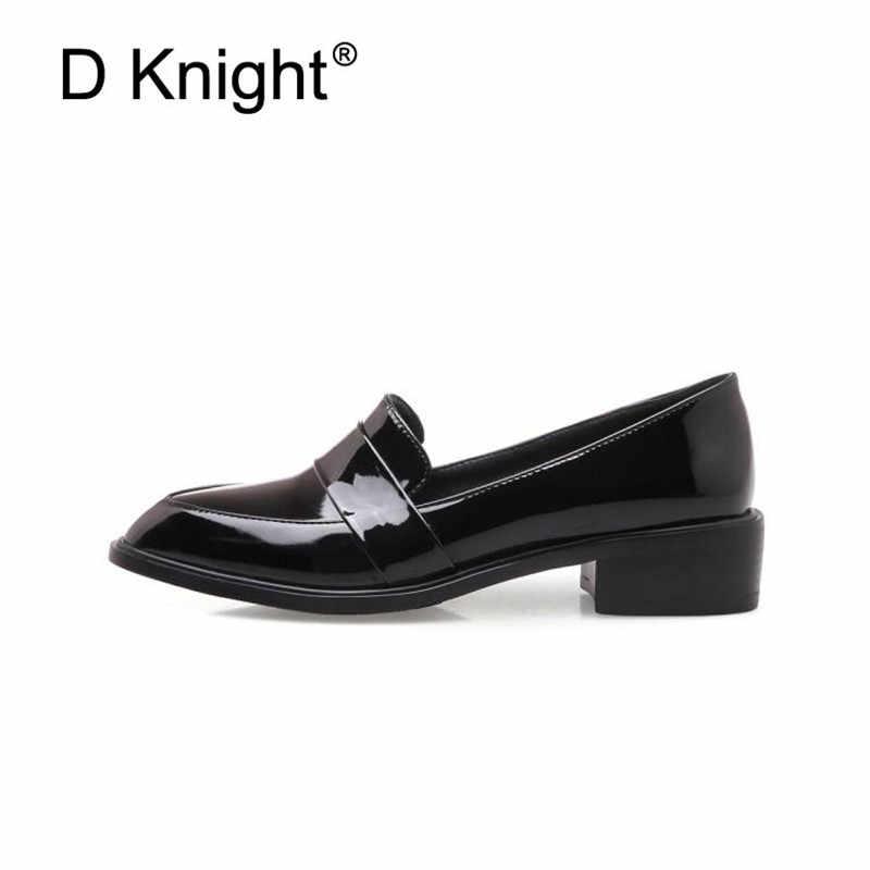 Grote Maat 32-43 Dame Casual Flat Instappers Schoenen Mode Lakleer Puntige Teen vrouwen Flats Britse Zwart rode Vrouwen Oxfords
