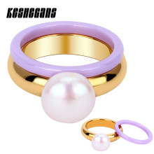 Purple Ceramic Ring + Big Synthetic Pearl Gold Stainless Steel Ring 2pcs/Set Fashion Elegant Gifts For Women Trendy Jewelry(China)