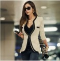 New fashion Women Long Sleeve Slim Brand Jacket Lady Autumn V-neck Black White Suit OL Jackets Plus Size Free ShippingF2301