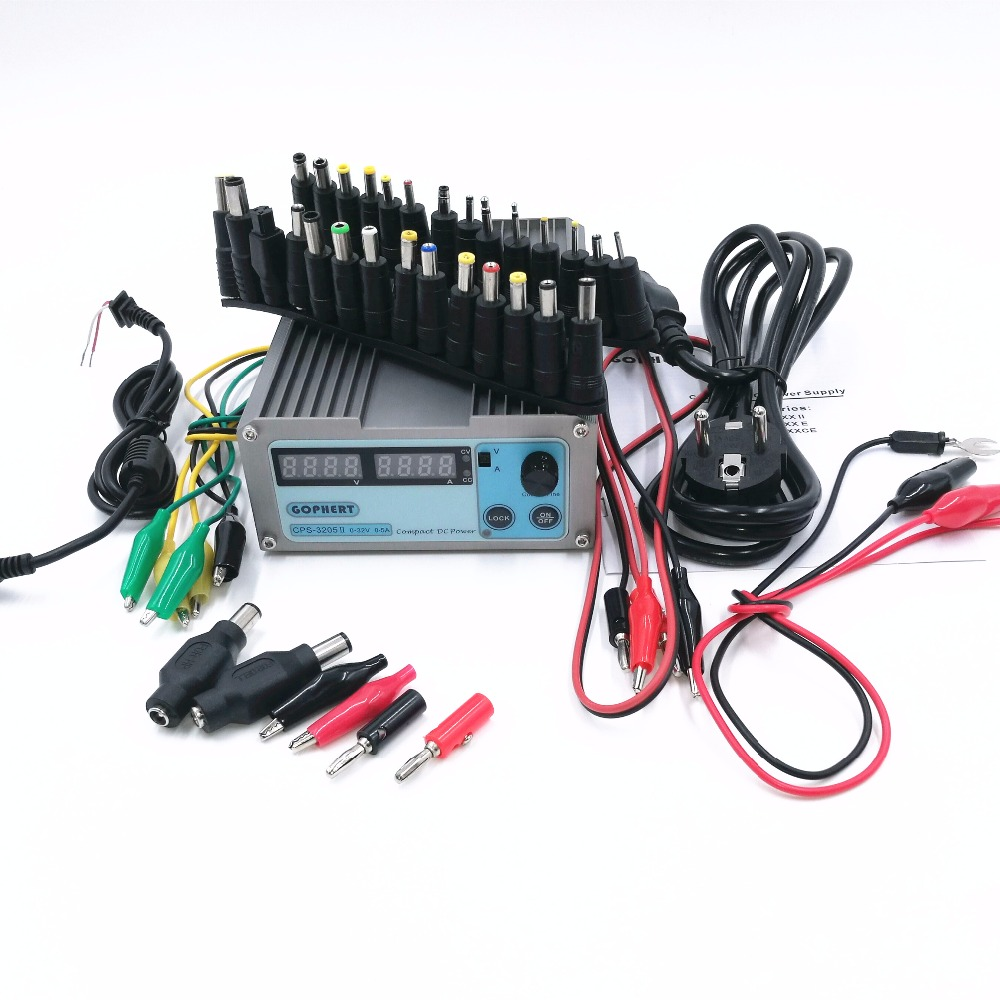 CPS-3205 II Compact Digital Adjustable DC Power Supply OVP/OCP/OTP+39 PCS connector Notebook power adapter 32V5A  0.01V/0.01A cps 6003 60v 3a dc high precision compact digital adjustable switching power supply ovp ocp otp low power 110v 220v