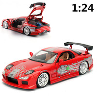 JADA 1:24 High simulation alloy model car,Red Mazda racing car,2 open door,quality toy models,toy vehicles,free shipping