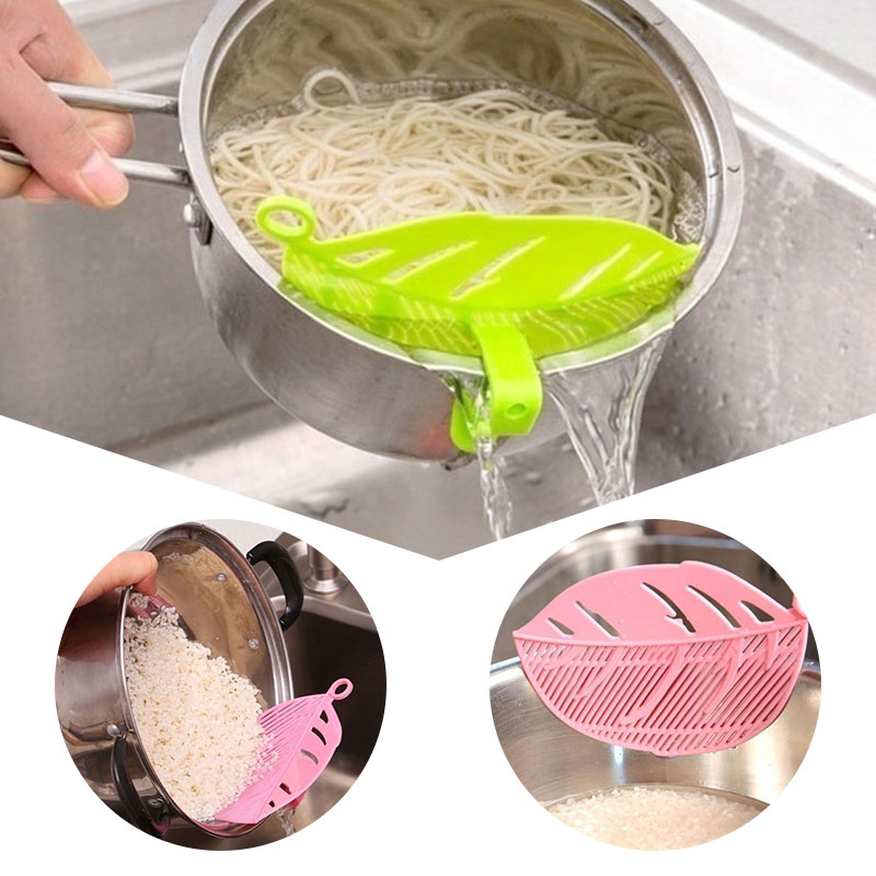 Kitchen Tool Snap on Leaf Shape Drain Board Retaining Rice Vegetable Noodle Plastic Filter Block Rice Cleaning Strainer Gadgets-in Storage Holders & Racks from Home & Garden
