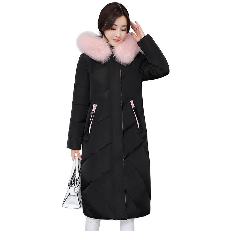 New Thicken Parkas Winter Jacket Women Long Quilted Jacket Hooded Fur Collar Thick Warm Women's Cotton Padded Coat Outwear Xmas 2017 new women winter coat long quilted jacket thick warm solid color cotton parkas female slim hooded zipper outwear okb88