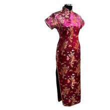 Red Chinese Tradition Wedding Party Dress Women's Fashion Dragon Phenix Cheongsam Long Satin Qipao Top Plus Size S To 6XL J3093