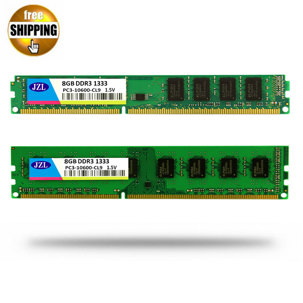 JZL Memoria PC3-10600 DDR3 1333MHz / PC3 10600 DDR 3 1333 MHz 8GB LC9 240-PIN Desktop PC Computer DIMM Memory RAM For AMD CPU full compatible for intel and for a m d motherboard pc12800 1600mhz desktop memory ram ddr3 8gb