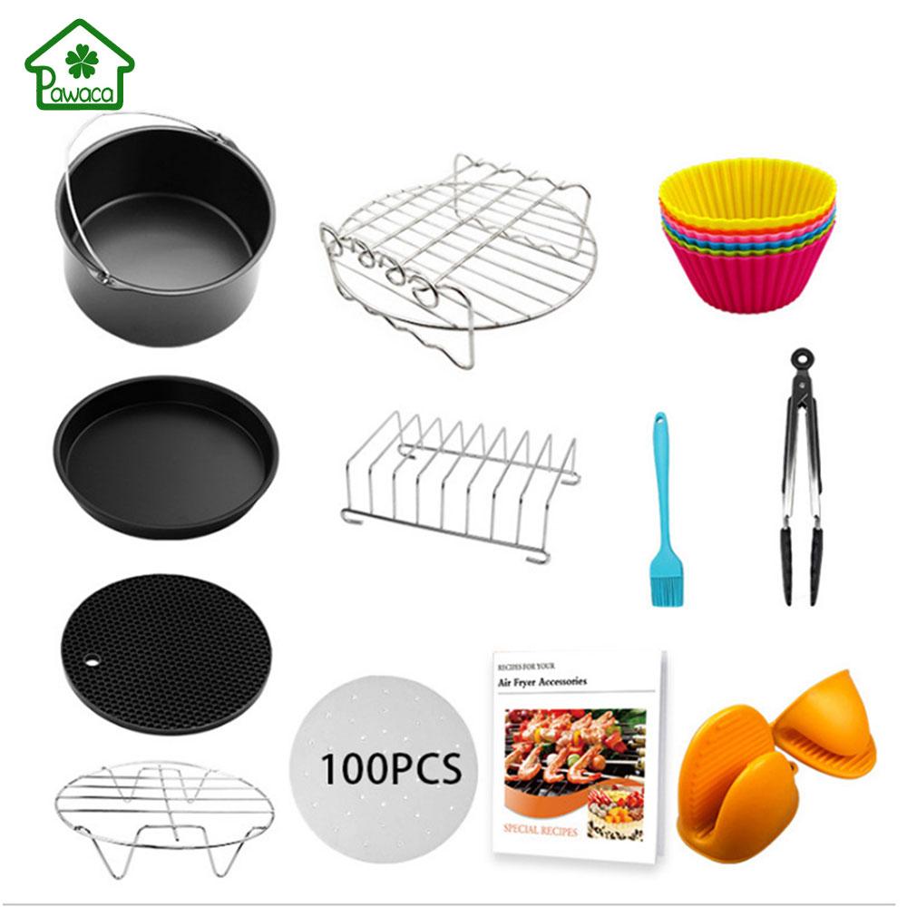 12 pièces/ensemble universel Air friteuse électrique accessoires cuisson cuisinière articles avec Pot/Pizza plateau/Pot tapis/grille à pain/huile buvard papier