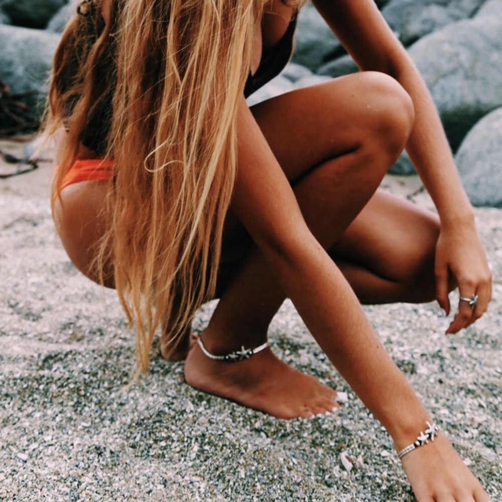 VINTAGE OM Rune ปลาดาวจี้ Anklets สำหรับผู้หญิง 2019 Handmade สร้อยข้อมือสร้อยข้อมือสร้อยข้อมือขาฤดูร้อนชายหาด Anklet Foot Jewelry