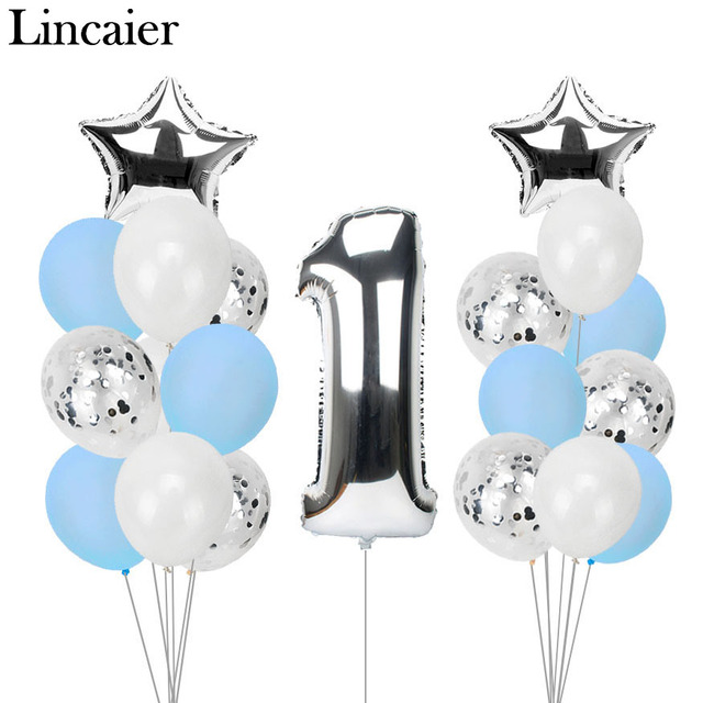 Lincaier 1st Happy Birthday Balloons Foil Number Banner First Baby Boy Girl Party Decorations My 1 One Year Supplies