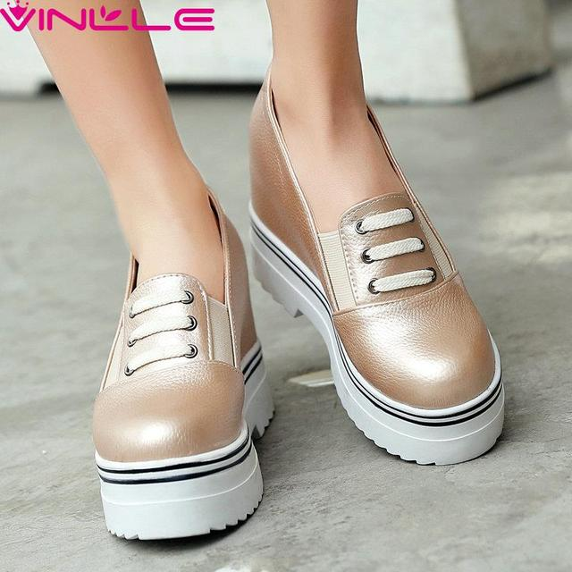 Slip on Round Toe Height Increasing Women Shoes Slip on Sexy Lady Spring Shoes Wedges High Heel Platform Women Pumps Size 34-39