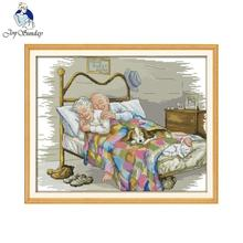 Joy sunday Figgure style The old married couple cross stitch kit for house decoration