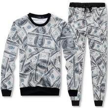 New Men Sets Fashion 3D US dollar Printing Sporting Suit Sweatshirt +Sweatpants Mens Clothing 2 Pieces Slim Tracksuit