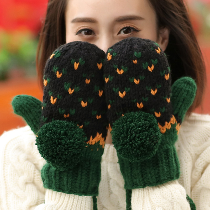Thick Warm Winter Lady's Mittens Handmade Knitted Gloves Gift