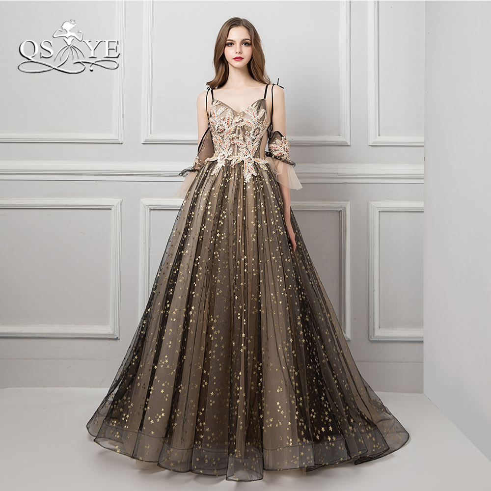 QSYYE 2018 Sexy Saudi Arabia   Evening     Dresses   Spaghetti Sweetheart 3D Lace Sweep Train Long Prom   Dress   abendkleider Custom