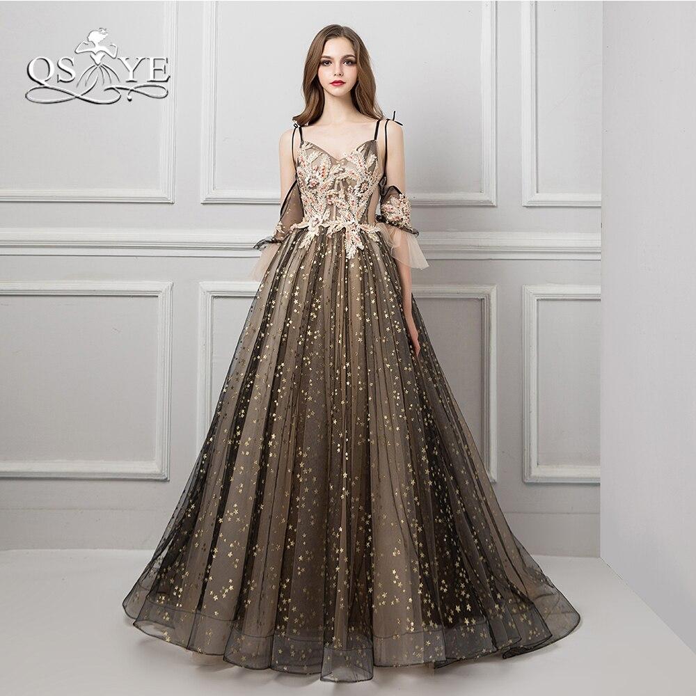 QSYYE 2018 Sexy arabie saoudite robes de soirée Spaghetti chérie 3D dentelle balayage Train longue robe de bal abendkleider personnalisé