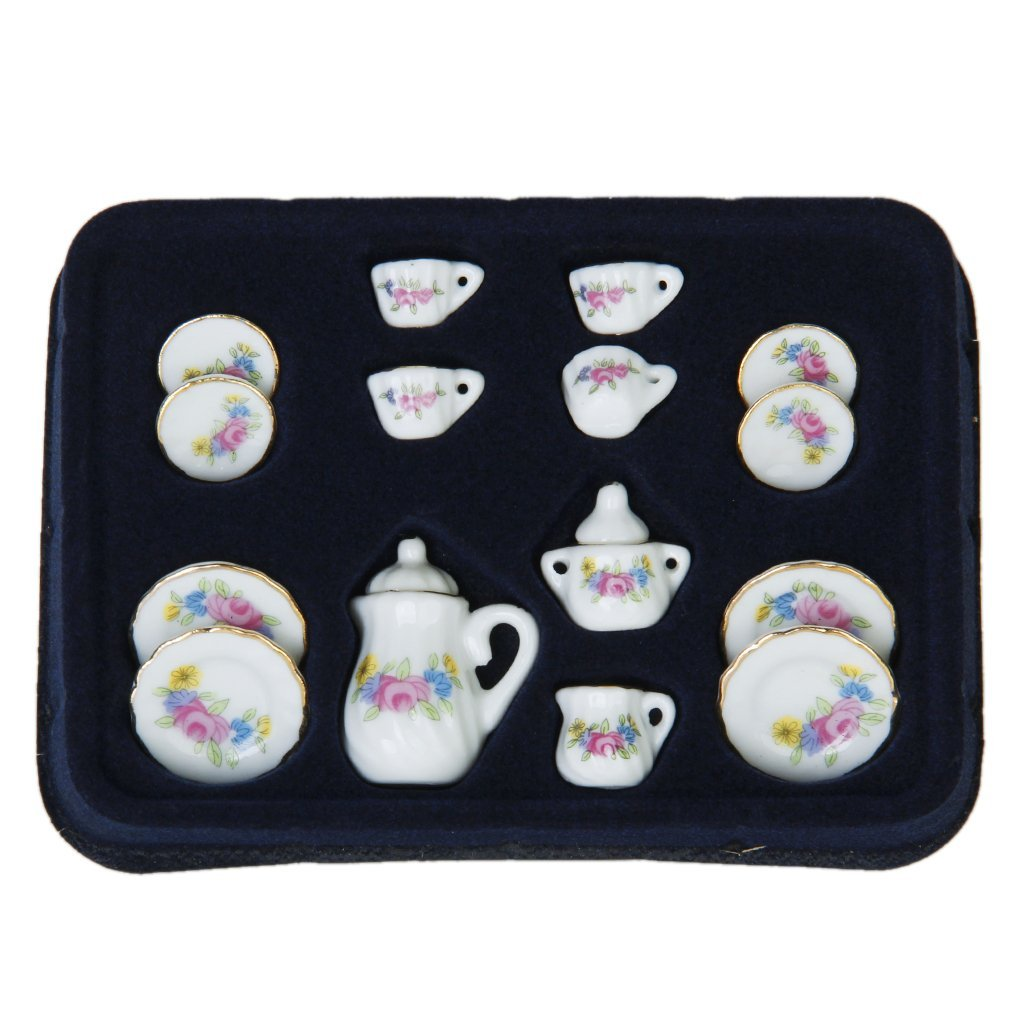 Lgfm-15 Piece Miniature Dollhouse Dinnerware Porcelain Tea Set Tableware Mug Plate With Floral Pattern Camping & Hiking