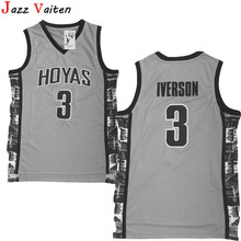 996ed32ecf81 Jazz Vaiten new design Men s Allen Iverson Jersey Grey Navy Georgetown  Hoyas College Throwback Basketball Jersey. 3 Colors Available