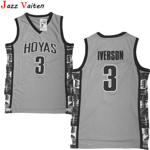 ae864fb02dc Jazz Vaiten new design Men's Allen Iverson Jersey Grey Navy Georgetown  Hoyas College Throwback Basketball Jersey hot sell