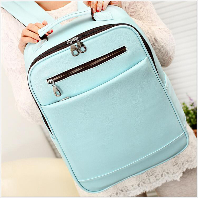 New Fashion 2017 Leather Laptop Backpack Preppy Style Women Backpack Travel School Bag Woman Leather Pack