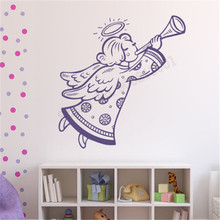 Wall Decoration Vinyl Art Removeable Poster Beauty Angel Decal Merry Christmas Ornament Religious Festival Mural LY579