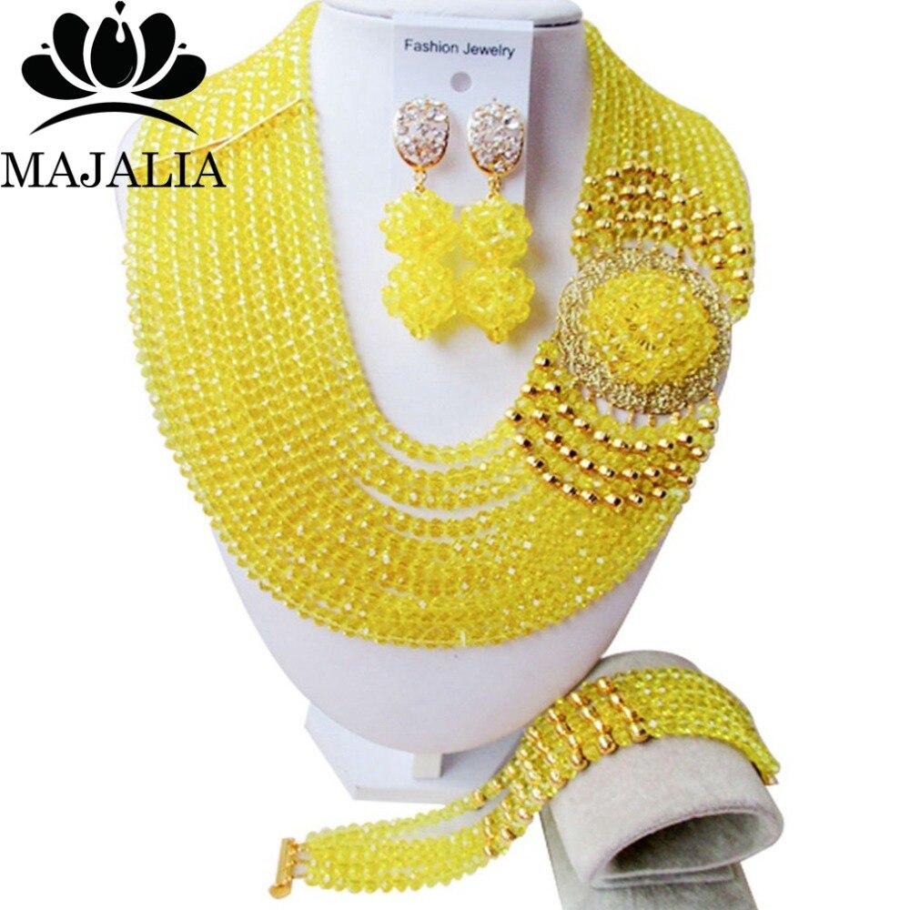 Classic Nigeria Svatební africké korálky šperky sada žlutá Crystal náhrdelník náramek Svatební šperky sady Doprava zdarma KL-1043
