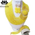 Classic Nigeria Wedding african beads jewelry set yellow Crystal necklace bracelet Bridal Jewelry sets Free shipping KL-1043