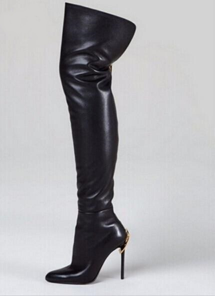 953e94ae2c4b Woman Stretch Leather Over The Knee Boots Black Back Zipper Thigh High  Botas Feminina Pointed Toe