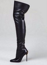 Woman Stretch Leather Over The Knee Boots Black Back Zipper Thigh High Botas Feminina Pointed Toe Slim Thin High Heel Boots
