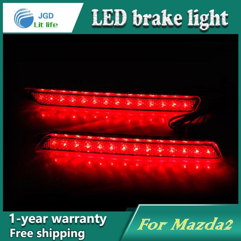 Car Styling Rear Bumper LED Brake Lights Warning Lights case For Mazda 2 Mazda2 Accessories Good Quality