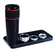 12X Телефото Телескоп Оптический Зум-Объектив + Широкий Угол и Макро + Рыбий глаз Объектив Камеры Комплект для iPhone5s 7 6 s Плюс Samsung