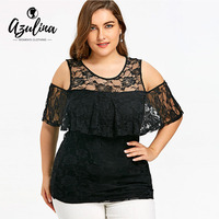 AZULINA Plus Size Cold Shoulder Overlay Lace Blouse Women Short Sleeves O Neck Black Top 2018