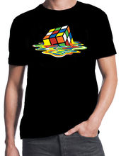 Theory Melting Rubiks Cube Sheldon Geek Retro 80's Party Black T-Shirt New Fashion T Shirt Graphic Letter Couple Top Tee