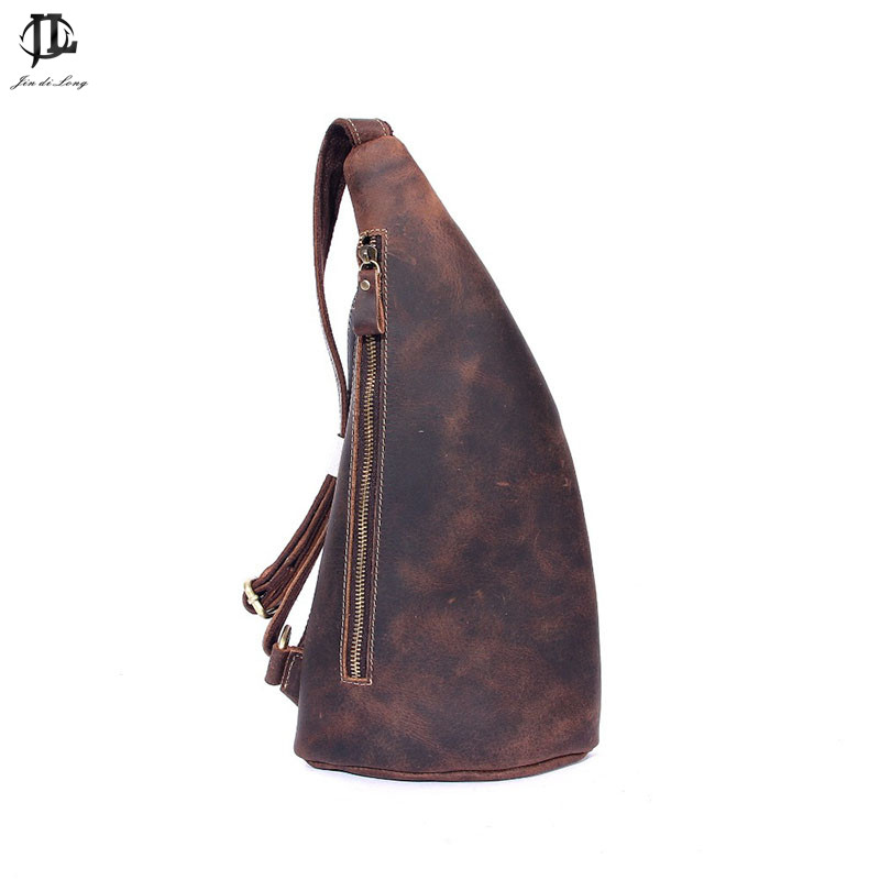 2018 New Brand Stylish Design OX horn Crazy Horse Genuine leather Street Fashion Men Chest Pack Shoulder Sling Bag Travel Bag