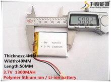 2 unids [SD] 3.7 V, 1300 mAH, [404050] Polímero de iones de litio/batería Li-ion para el JUGUETE, BANCO de POTENCIA, GPS, mp3, mp4, teléfono móvil, altavoz