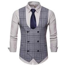 Suit vest Mens casual plaid high quality double-breasted mens U-neck business suit slim large size