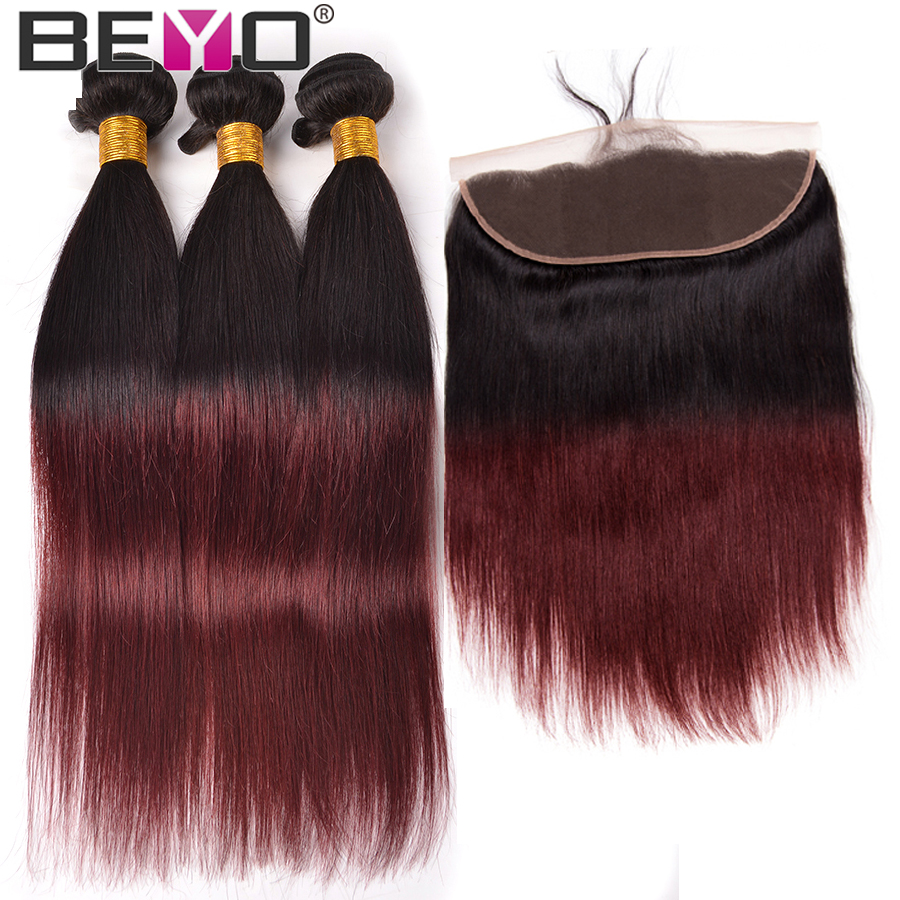 T1B 99J Ombre Brazilian Straight Hair Weave Bundles Human Hair 3 Bundles With Frontal Closure Non